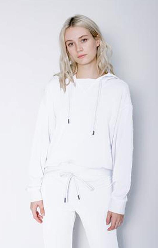 stateside womens white Summer knit hoodie