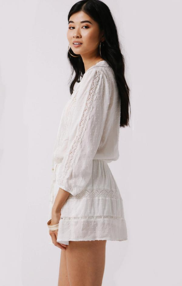 summer beach white long sleeve lace romper for women