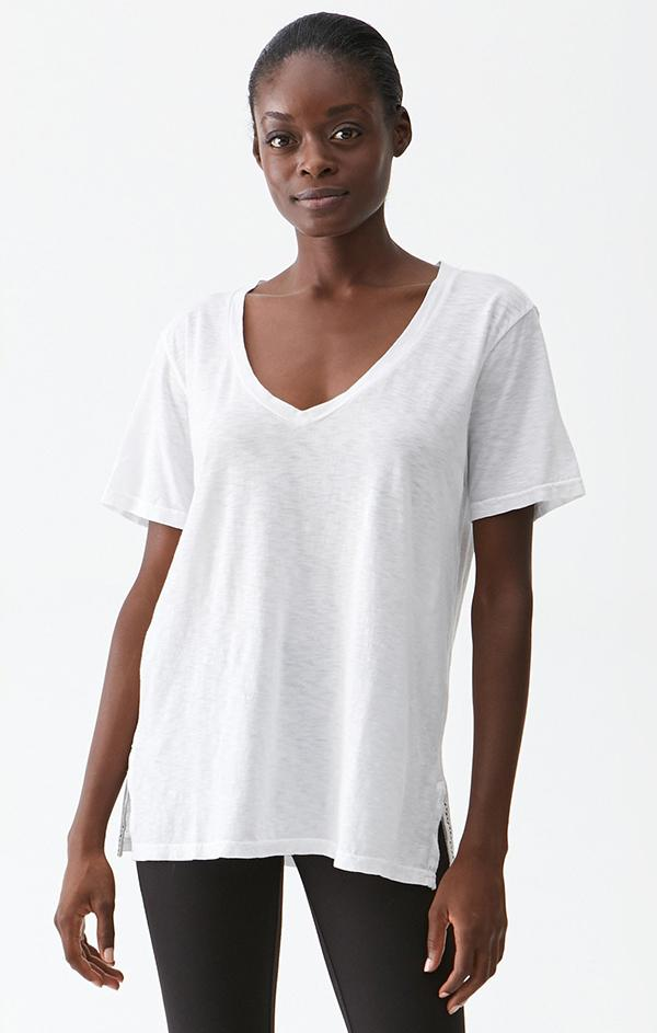 v neck white short sleeve cotton tee