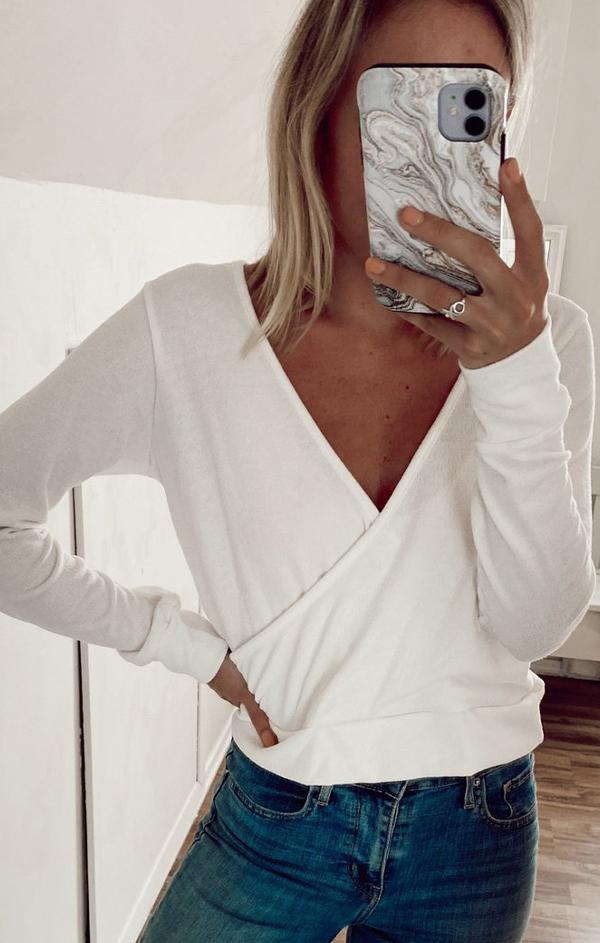white long sleeve v neck cross front top for fall