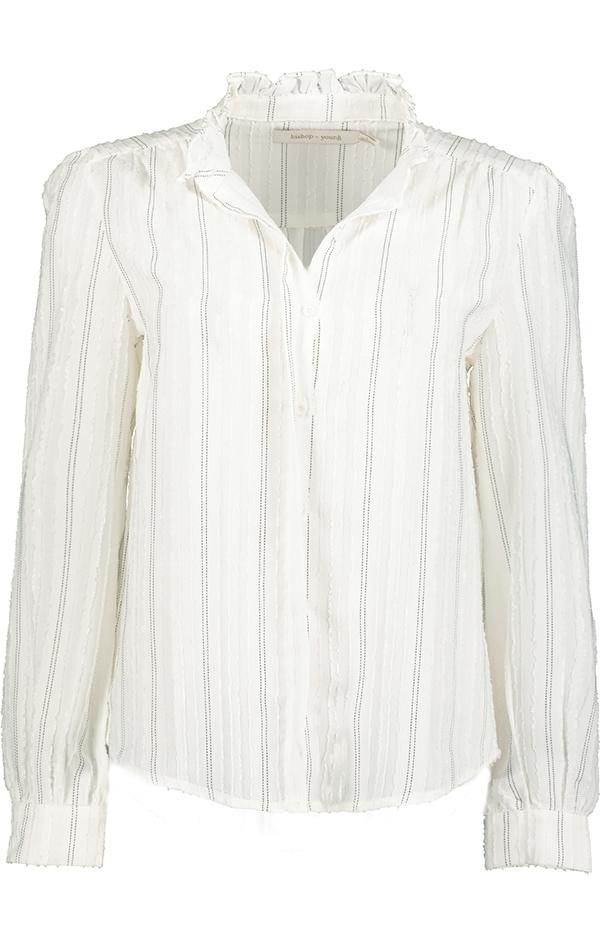 white pin stripe button up high neck long sleeve blouse