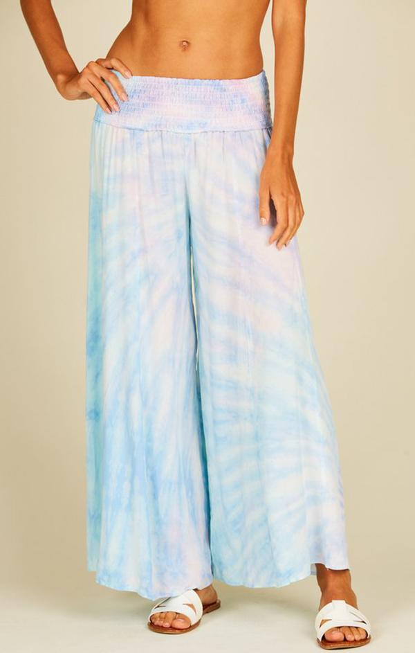 cropped beachy wide leg tie dye bottoms