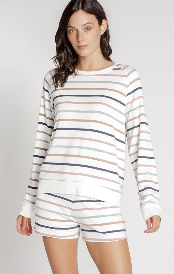 striped pullover sweatshirt top