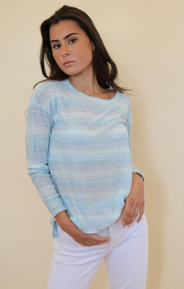 blue soft light summer knit top for women