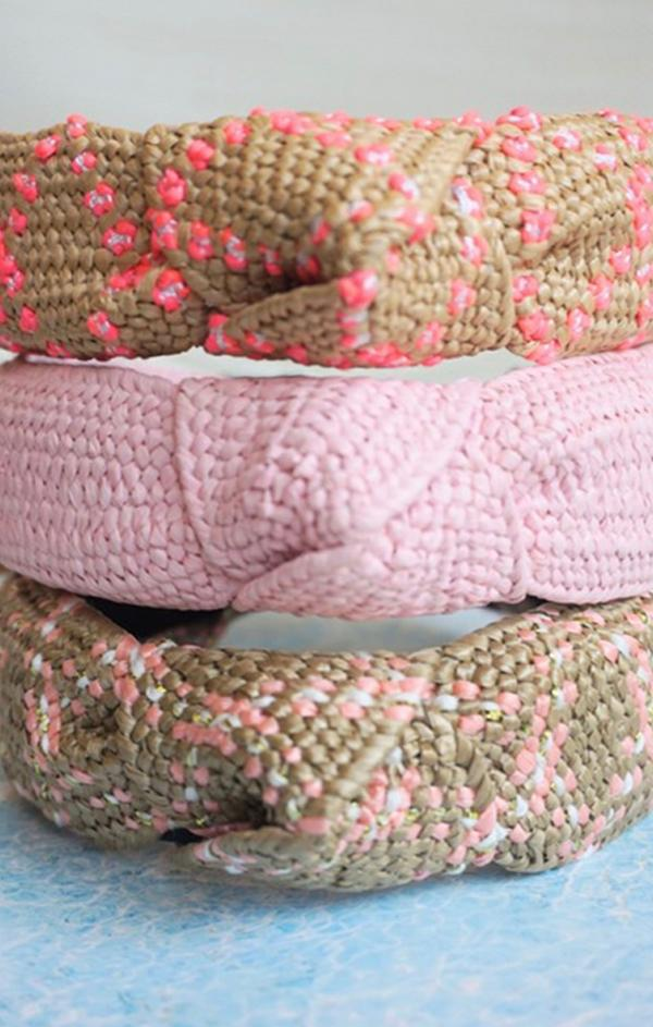 pink woven top knot headbands