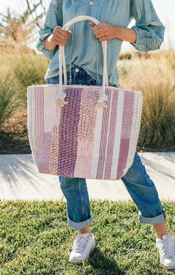 hand loomed tote bag
