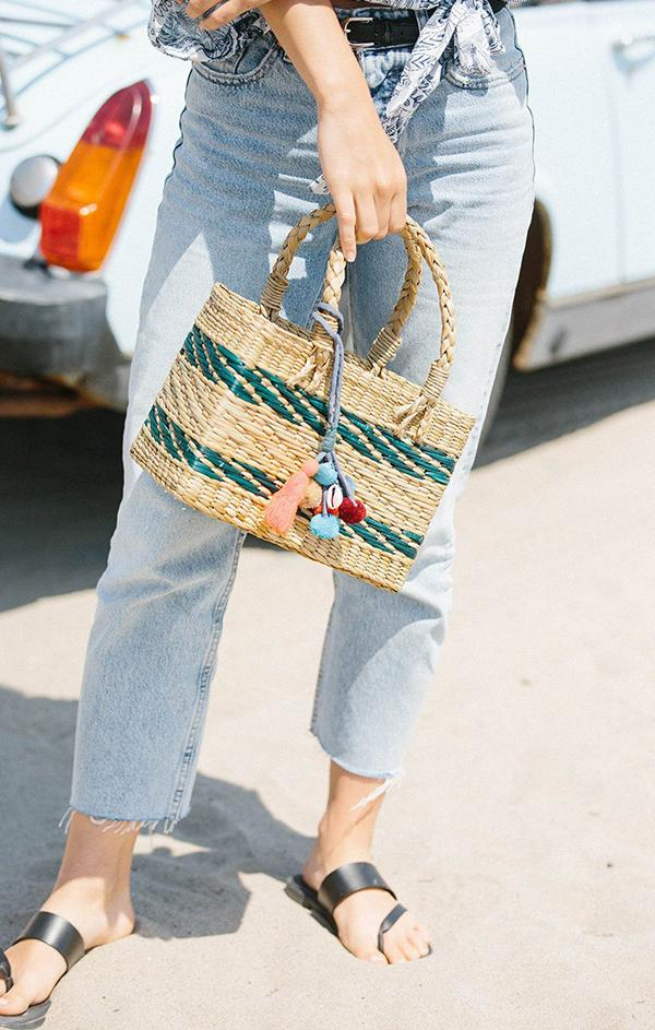 small woven striped tassel tote