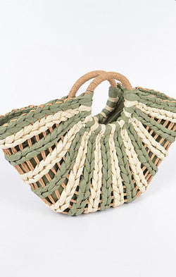 woven round handle green tote