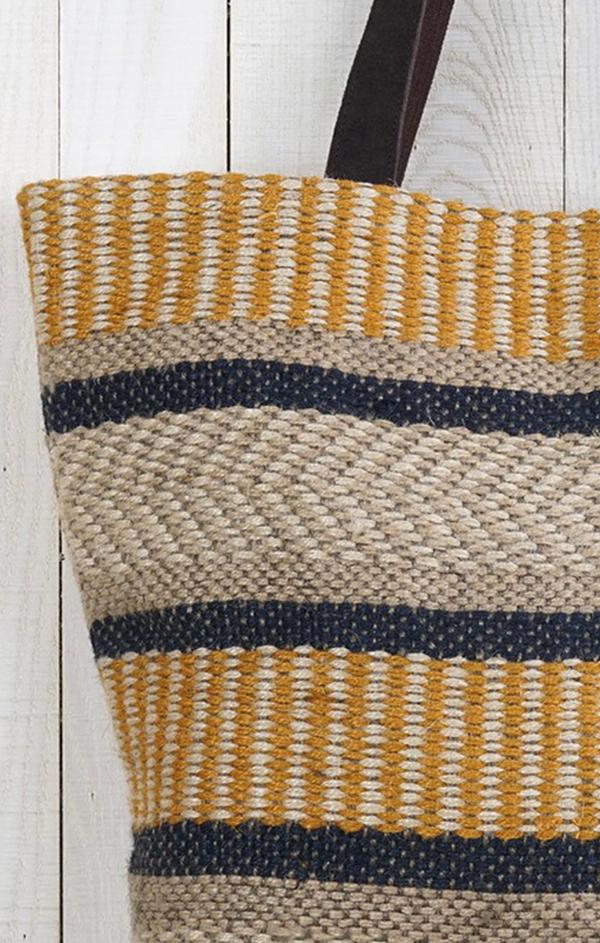 woven and navy beach tote bag
