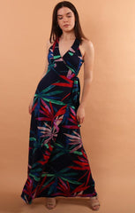 Veronica M Printed Tropical maxi wrap dress