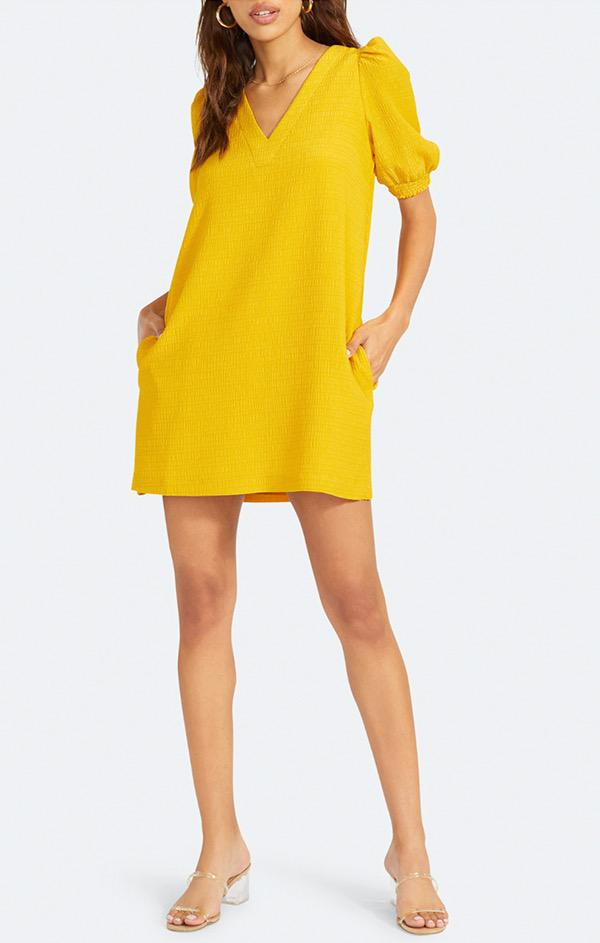 puff sleeve v neck mini dress in yellow