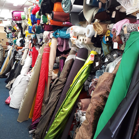 Fabric shopping at Greens in Blackburn