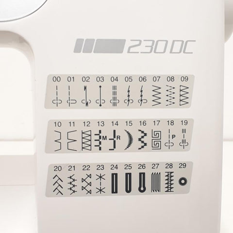 Janome 230DC sewing machine stitch settings