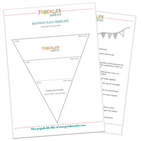 Free bunting sewing pattern template Freckles and Co