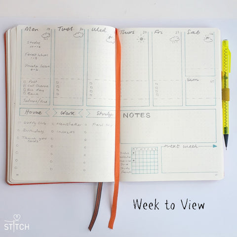 bullet journal week to view daily log