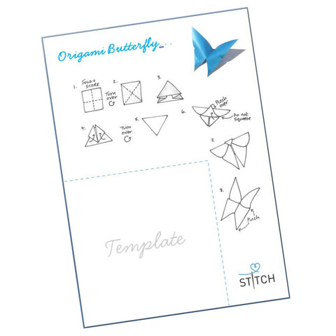 Origami butterfly worksheet and template