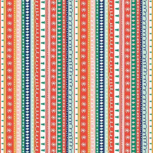 Buy Dashwood Studios Festive Friends Christmas stripe fabric FEST 1174