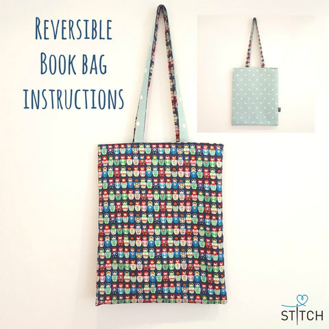 FREE sewing instructions make a reversible book bag tutorial