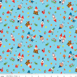 Riley Blake Gnome and Gardens around Blue sewing fabric C7891-BLUE