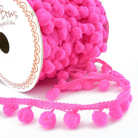 Pom Pom Ribbon - Shocking pink