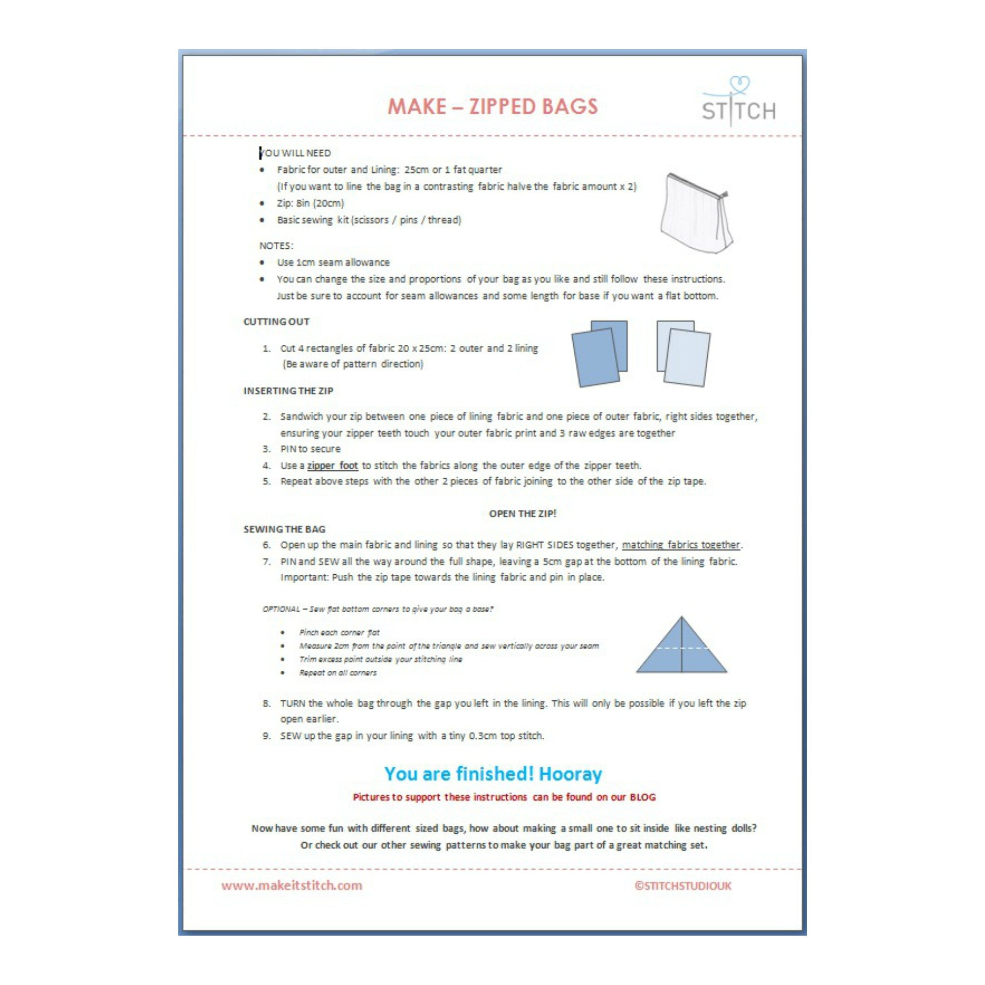 Make Zipped Bags Sewing Instructions From Stitch Studio Uk