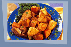 Maple- Orange Roasted Flax Sweet Potatoes