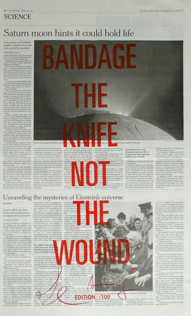 BANDAGE THE KNIFE NOT THE WOUND