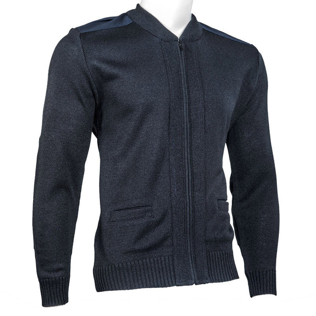 Crew Neck Zip-Front Commando Sweater