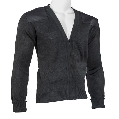V-Neck Zip-Front Commando Sweater