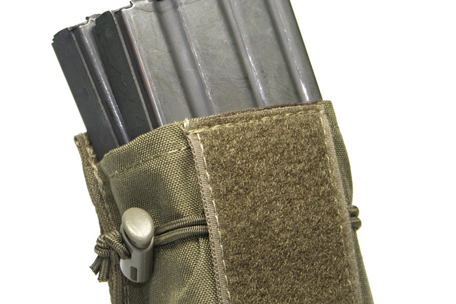Removable mag flap and adjustable retention make this an open top mag pouch.
