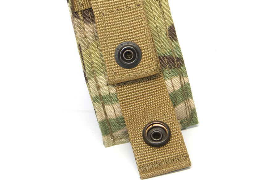 Attaches to MOLLE vests, packs, and carriers with one snap straps