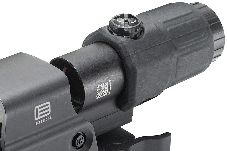 The G33 magnifier mounts right behind your HWS to greate a fixed power 3x rifle scope.