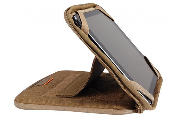 The Integrated stand holds the tablet securely at whichever angle works best for you.