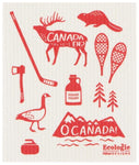 "Swedish dishcloth with illustrations in red of Canadian icons (hockey stick, moose, Canada goose) against white. Letters on moose read ""Canada Eh?"" and letters on a mountain range read ""O Canada!"""