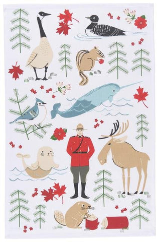 White tea towel with illustrations of Canadian wilderness icons  (moose, beaver, blue jay, etc.)  and a Mountie. Predominant colors are pale blue and brown, black, and bright red.