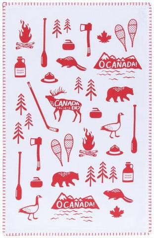 "White tea towel with red illustrations of  Canadian wilderness icons (moose, beaver, snowshoes, canoe paddle, etc.). Mountain ranges have text across them reading ""O Canada!"" Moose has text ""Canada Eh!"" across it."