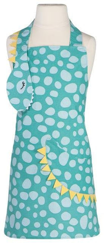 Turquoise apron with white spots. Sleeping dinosaur head with black eyelashes and white teeth at end of neck strap. Yellow crest on dinosaur neck and tail that curves around front of apron.