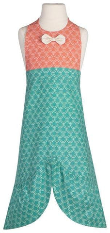 "Apron with short orange bodice and long turquoise ""mermaid tail"" skirt. ""Fish scale"" pattern and white bow tie."