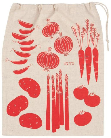 Beige drawstring sack with illustrations of vegetables in red.
