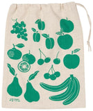 Beige drawstring sack with illustrations of fruits in green.