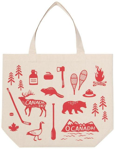"Large tote bag with strap. Cream colored with red Canadian themed illustrations (beaver, canoe paddle, snowshoes, etc.)  and the words ""O Canada"" on a mountain range and ""Canada Eh?"" on a moose."