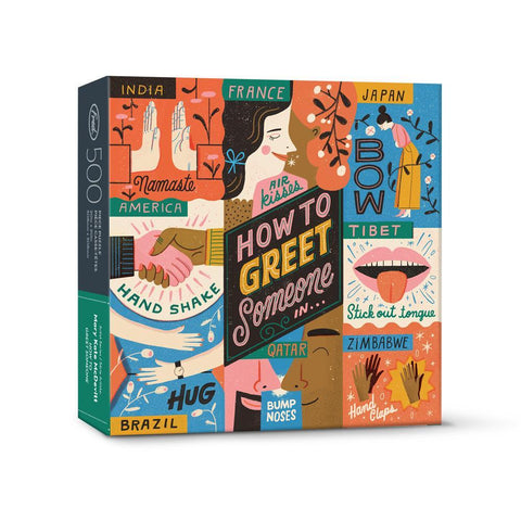 "Puzzle box with picture of puzzle: cartoon illustrations of ways to greet people in different countries; in the middle of the puzzle, the words ""How to Greet Someone in...."""