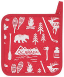 "Red pot holder with white illustrations of Canadian icons (moose, bear, snowshoes, mountain range with the words ""O Canada!"" on it, etc.)."