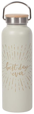 "White water bottle with gold text in cursive reading ""best day ever"" in the middle of the side, with gold lines radiating from it. Stainless steel and wood lid with handle."