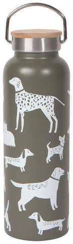 Grey water bottle with white illustrations of dogs. Stainless steel and wood lid with handle.