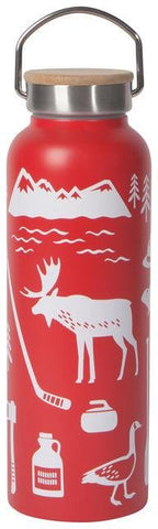 Red water bottle with white illustrations of Canadian icons (moose, goose, curling rock, hockey stick, etc.). Stainless steel and wood lid with handle.