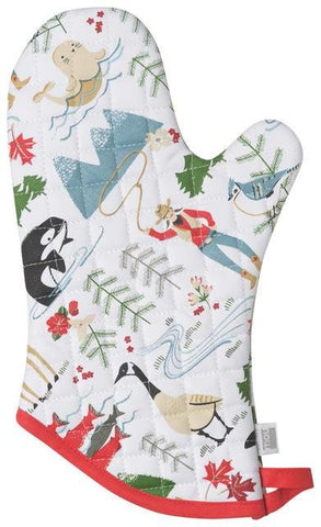 White oven mitt with Canadian wilderness theme featuring illustrations of animals (blue jay, Canada goose, seal, etc.) and a cowgirl in primary colors. Red trim.