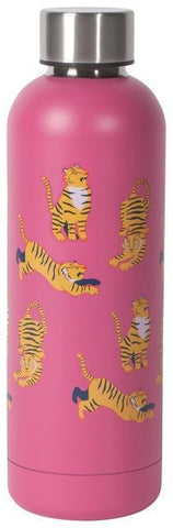Pink water bottle with illustrations of tigers in different poses.
