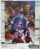 Cover of puzzle box shows 1000-piece puzzle featuring characters from the movie, with the Avengers logo in the center.