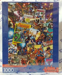 Cover of puzzle box shows 1000-piece puzzle featuring Avengers comics covers from throughout the decades.
